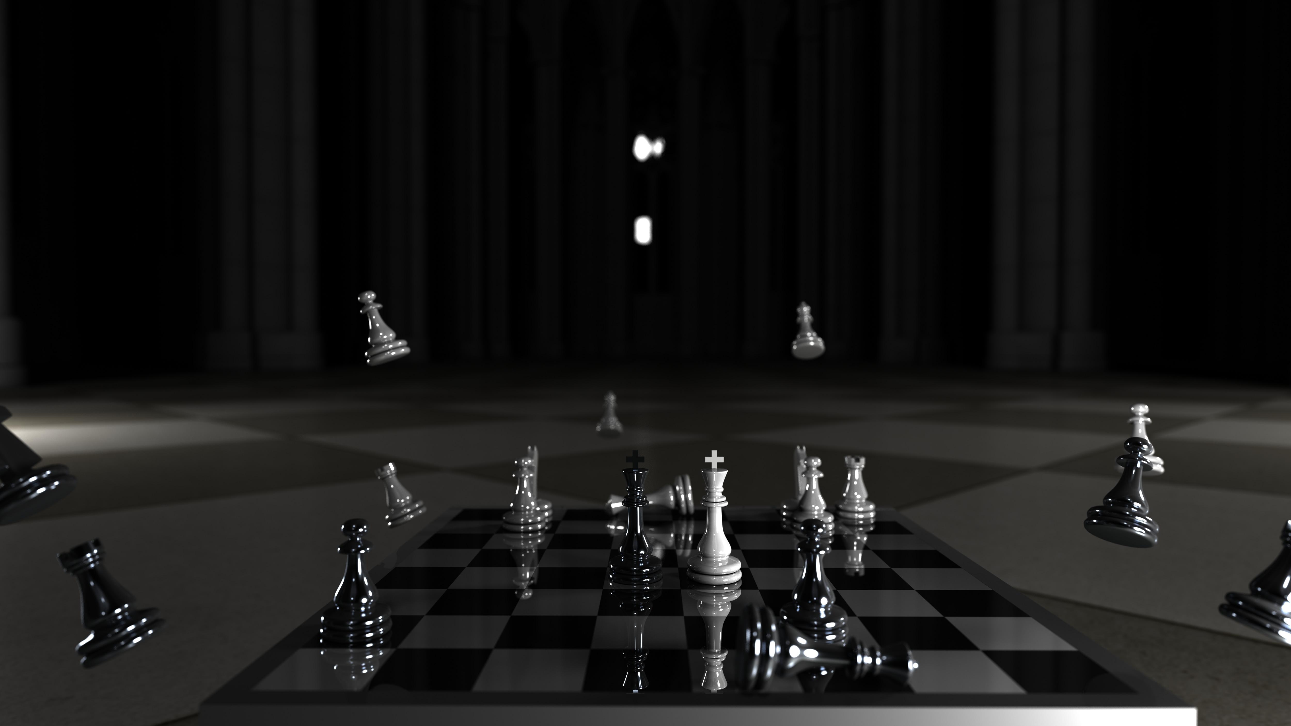 Chess Wallpaper black and white 4K