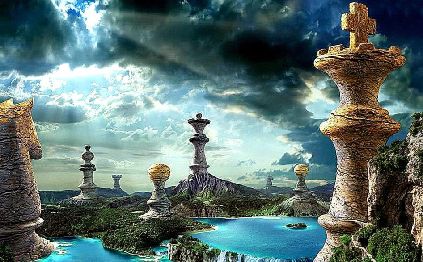Beau paysage artistic fond d'écran échecs